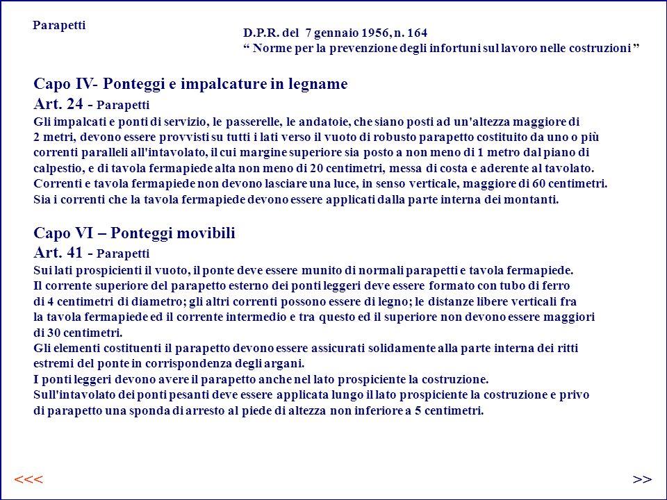 Capo IV- Ponteggi e impalcature in legname Art. 24 - Parapetti