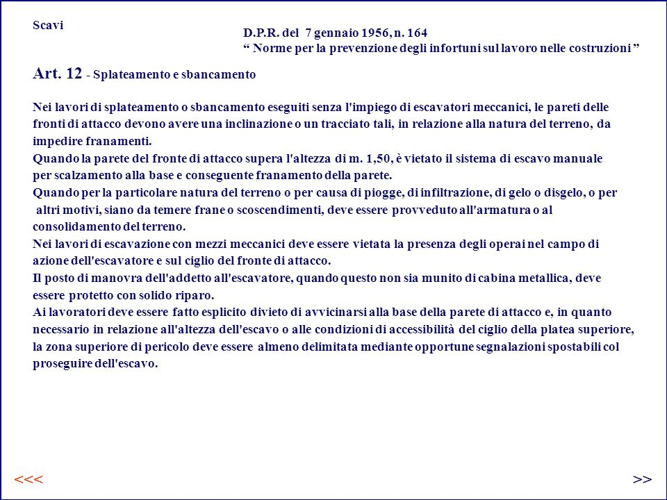 Art. 12 - Splateamento e sbancamento