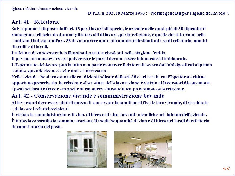 Igiene-refettorio/conservazione vivande
