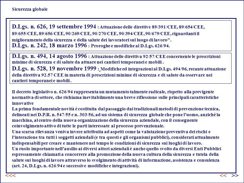 D.Lgs. n. 242, 18 marzo 1996 : Proroghe e modifiche al D.Lgs. 626/94.