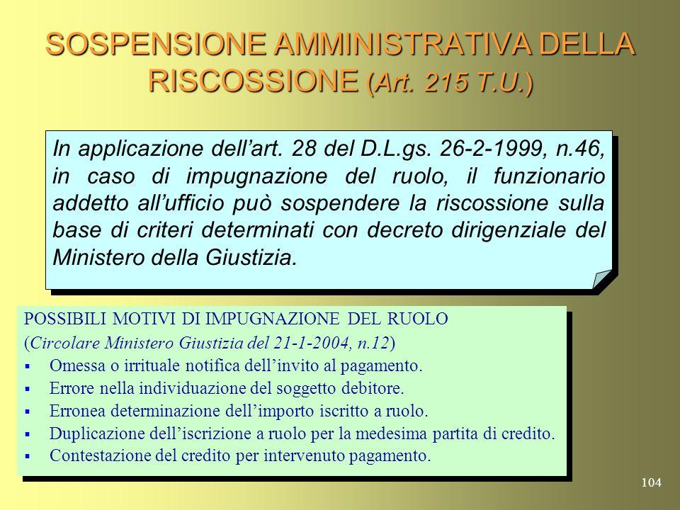 SOSPENSIONE AMMINISTRATIVA DELLA RISCOSSIONE (Art. 215 T.U.)