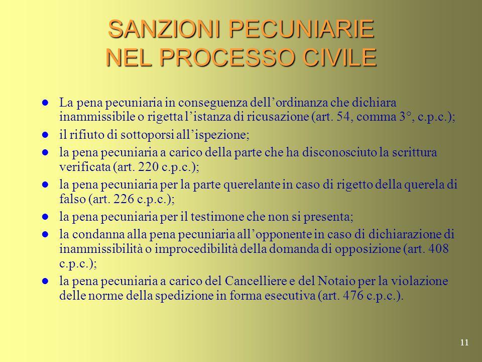 SANZIONI PECUNIARIE NEL PROCESSO CIVILE