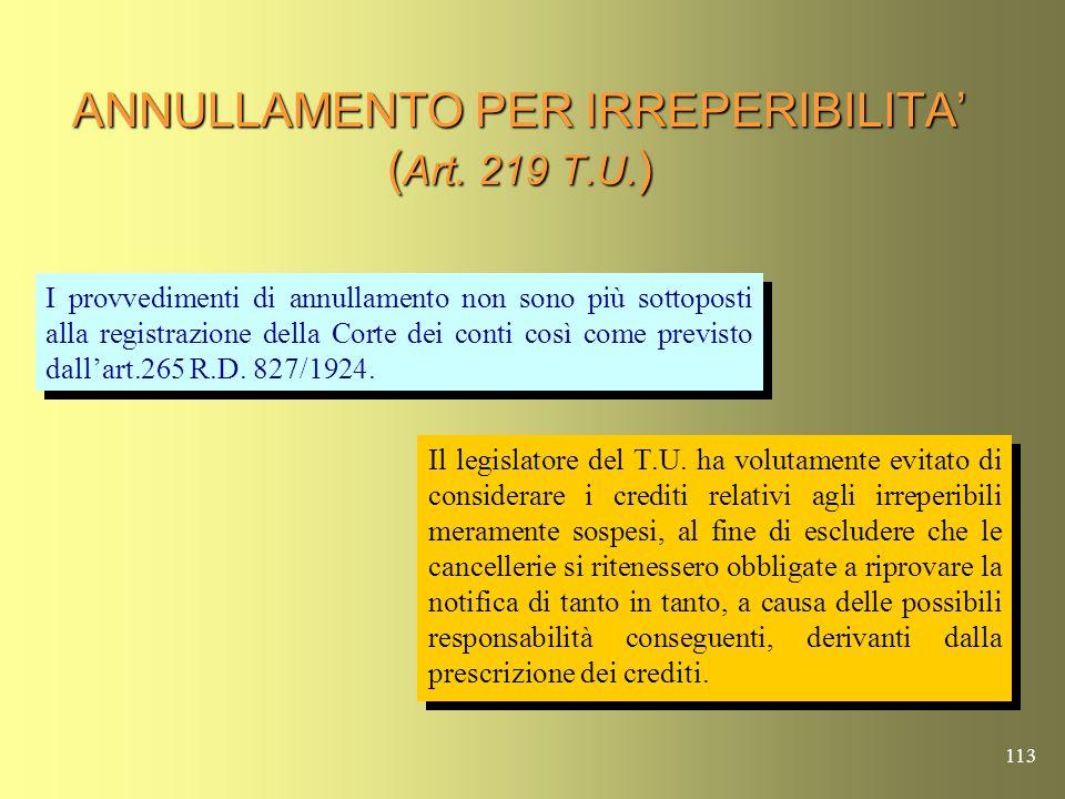 ANNULLAMENTO PER IRREPERIBILITA' (Art. 219 T.U.)