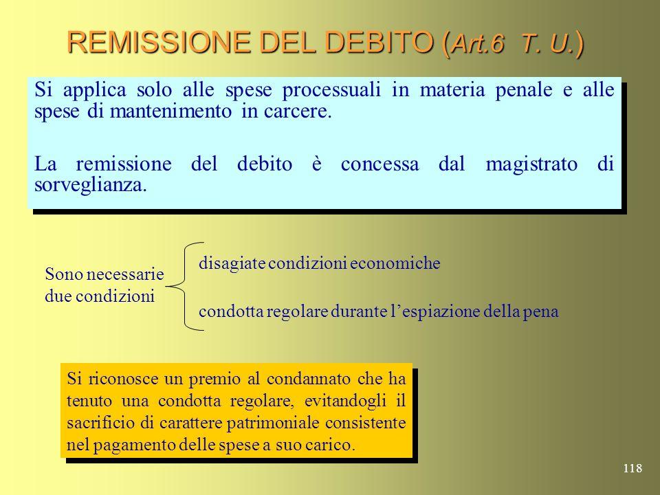 REMISSIONE DEL DEBITO (Art.6 T. U.)