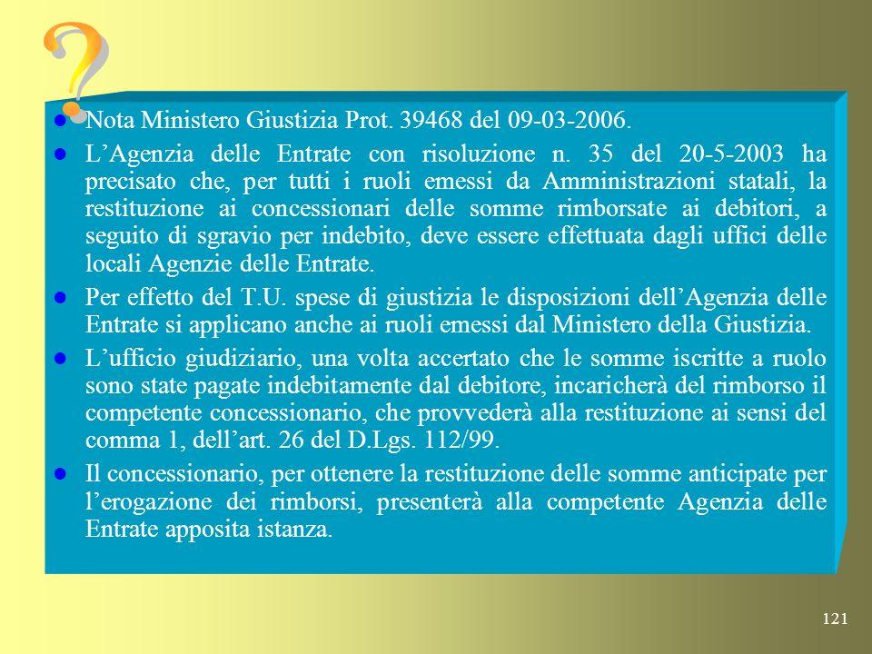 Nota Ministero Giustizia Prot. 39468 del 09-03-2006.