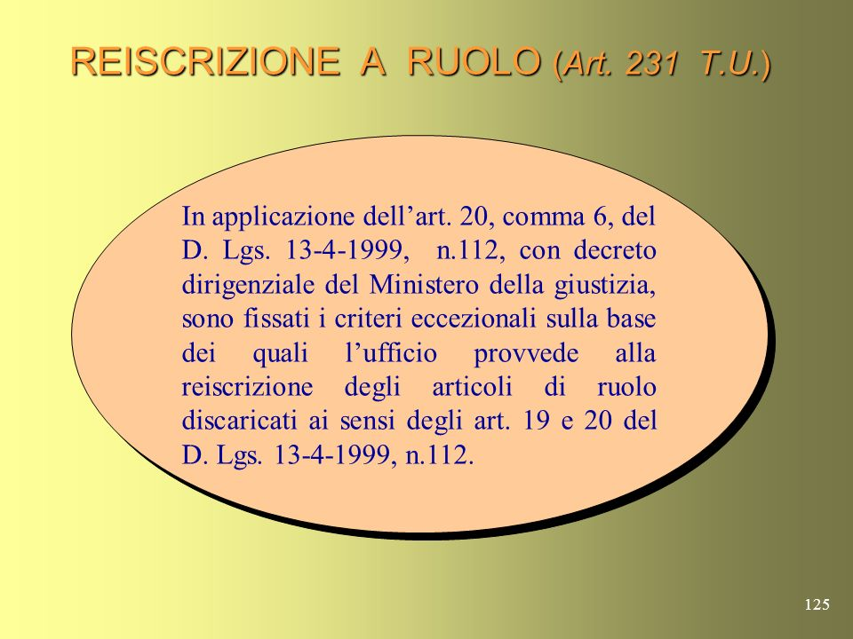 REISCRIZIONE A RUOLO (Art. 231 T.U.)