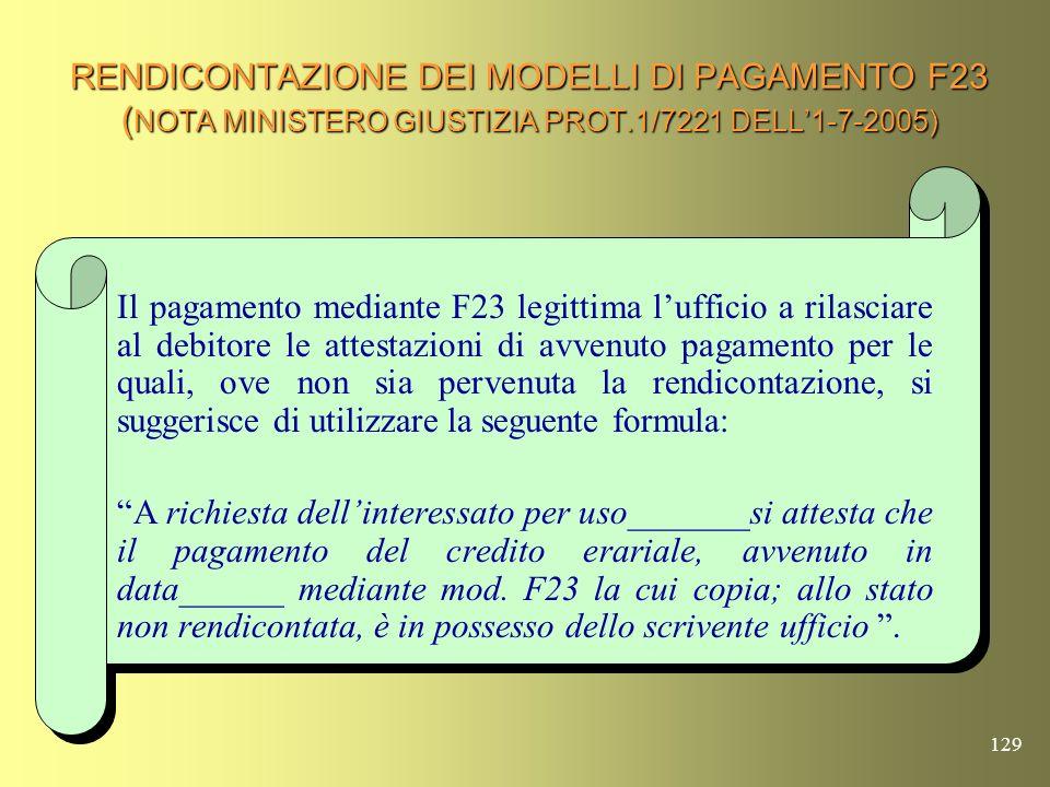 RENDICONTAZIONE DEI MODELLI DI PAGAMENTO F23 (NOTA MINISTERO GIUSTIZIA PROT.1/7221 DELL'1-7-2005)