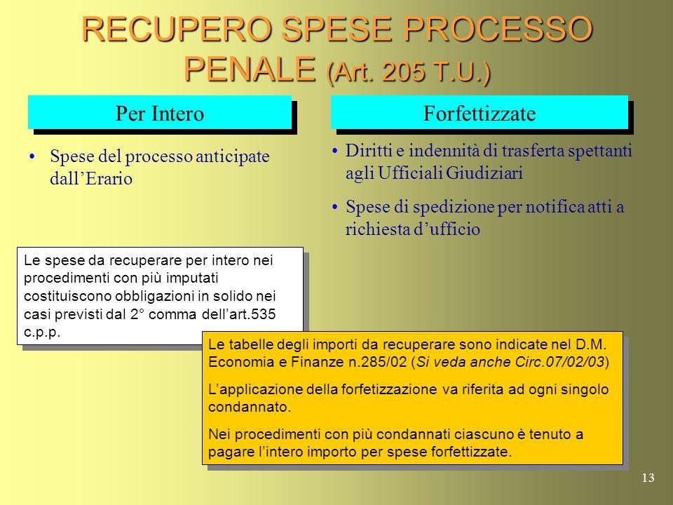 RECUPERO SPESE PROCESSO PENALE (Art. 205 T.U.)