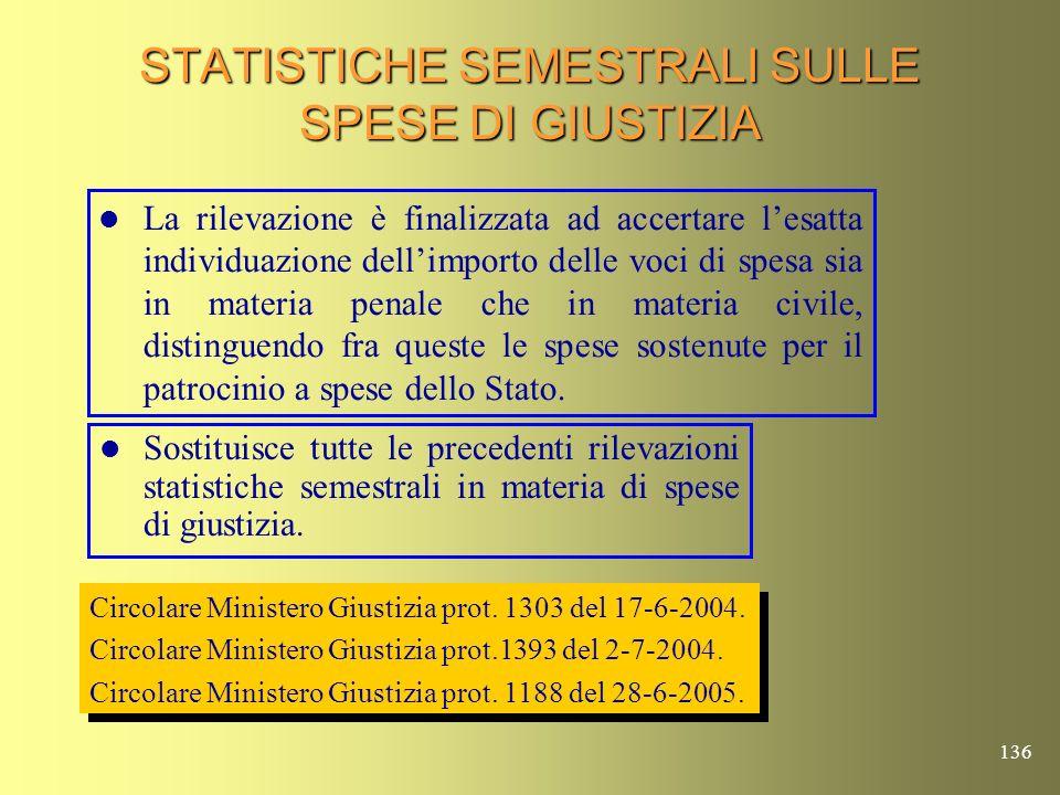 STATISTICHE SEMESTRALI SULLE SPESE DI GIUSTIZIA