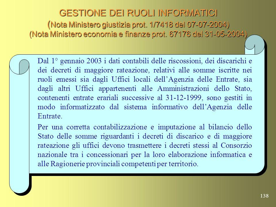 GESTIONE DEI RUOLI INFORMATICI (Nota Ministero giustizia prot