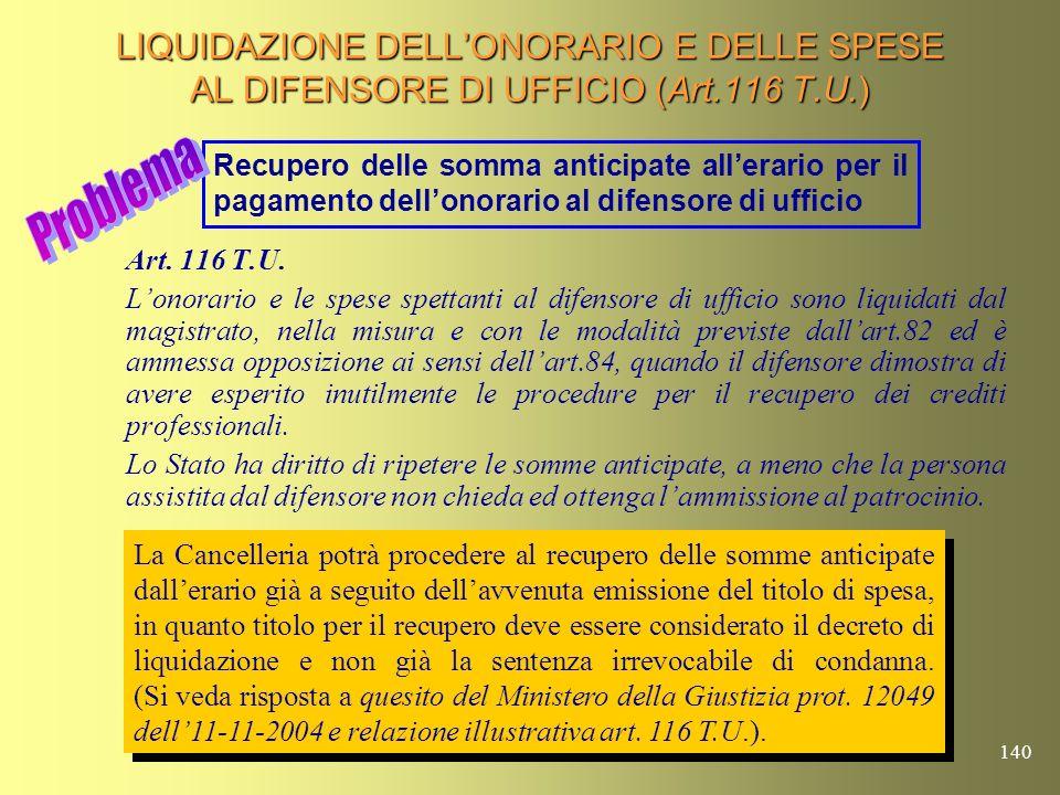LIQUIDAZIONE DELL'ONORARIO E DELLE SPESE AL DIFENSORE DI UFFICIO (Art