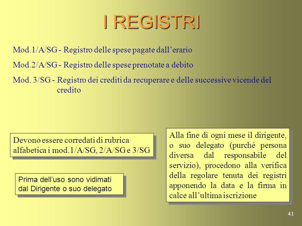 I REGISTRI Mod.1/A/SG - Registro delle spese pagate dall'erario