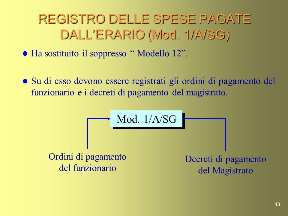 REGISTRO DELLE SPESE PAGATE DALL'ERARIO (Mod. 1/A/SG)