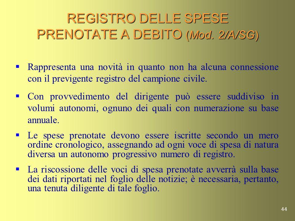 REGISTRO DELLE SPESE PRENOTATE A DEBITO (Mod. 2/A/SG)