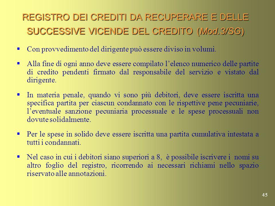 REGISTRO DEI CREDITI DA RECUPERARE E DELLE SUCCESSIVE VICENDE DEL CREDITO (Mod.3/SG)