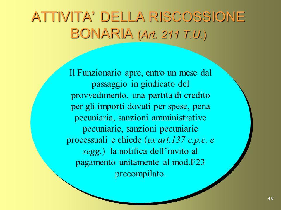 ATTIVITA' DELLA RISCOSSIONE BONARIA (Art. 211 T.U.)