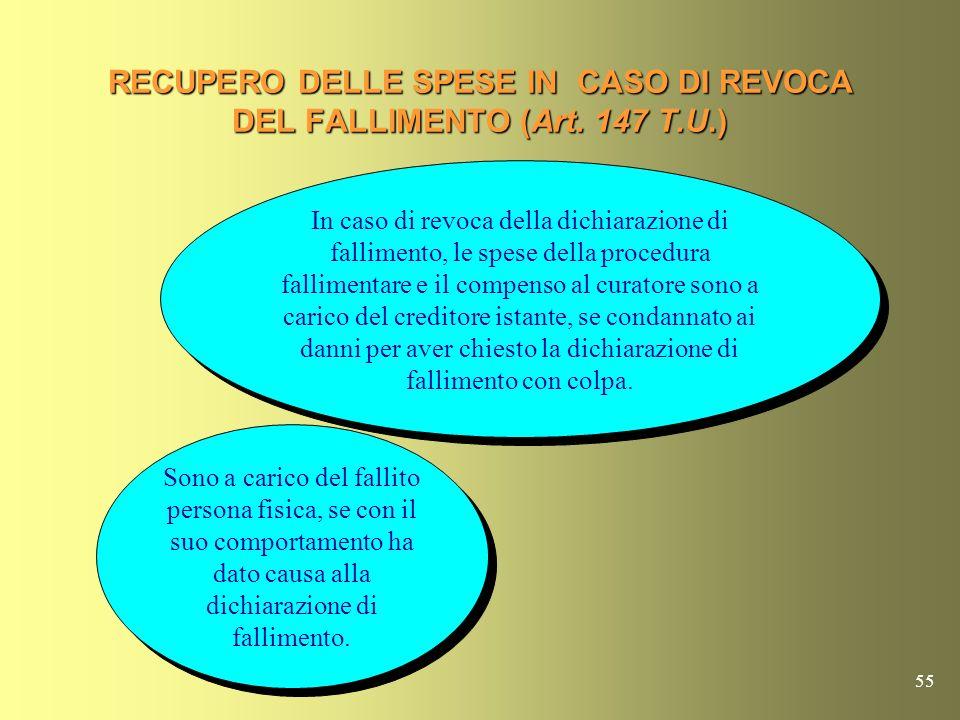 RECUPERO DELLE SPESE IN CASO DI REVOCA DEL FALLIMENTO (Art. 147 T.U.)