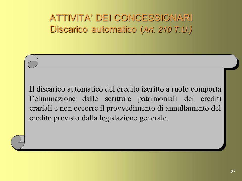 ATTIVITA' DEI CONCESSIONARI Discarico automatico (Art. 210 T.U.)