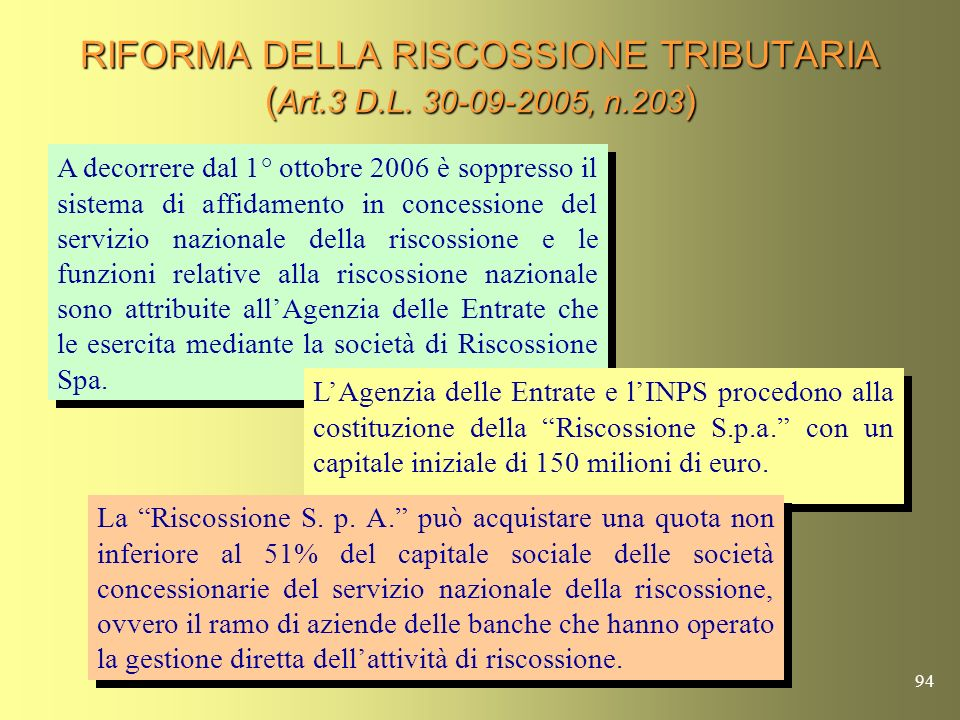 RIFORMA DELLA RISCOSSIONE TRIBUTARIA (Art.3 D.L. 30-09-2005, n.203)