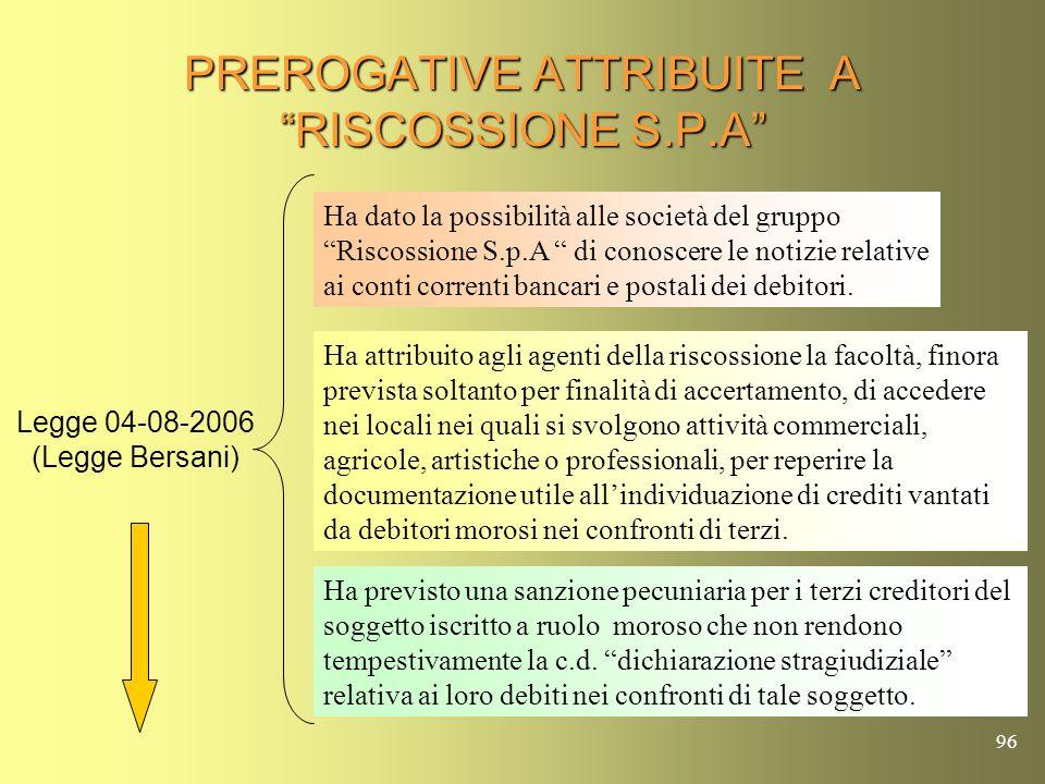 PREROGATIVE ATTRIBUITE A RISCOSSIONE S.P.A