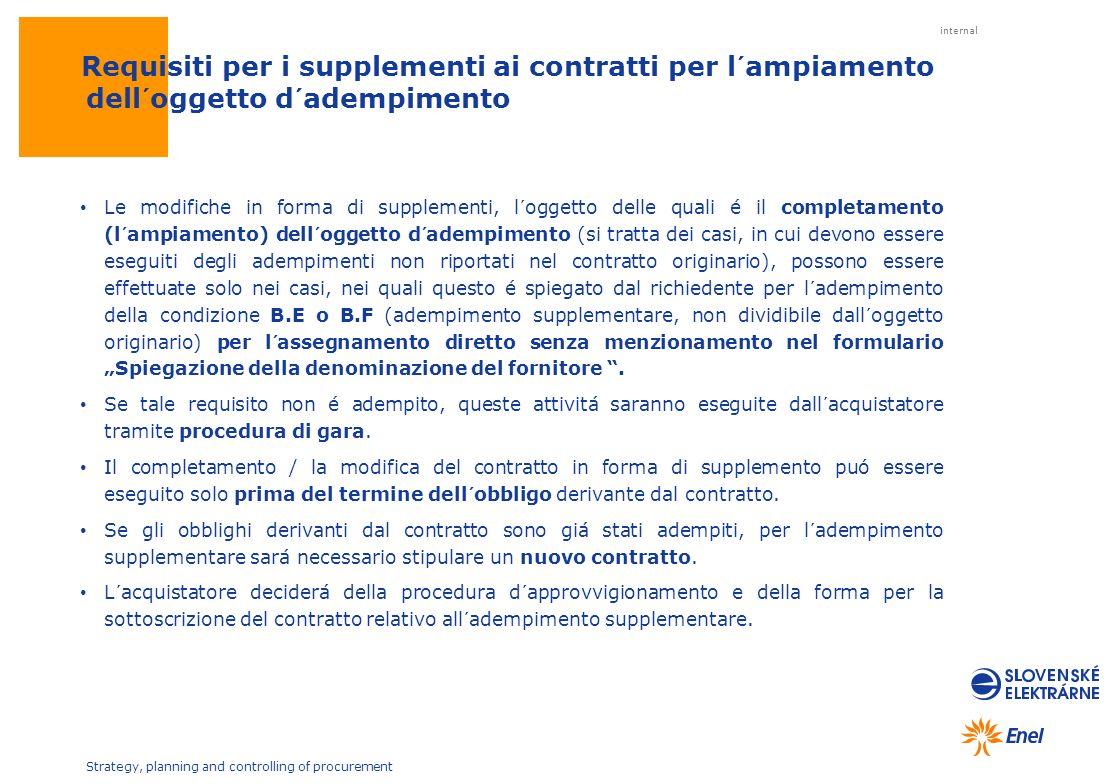 Requisiti per i supplementi ai contratti per l´ampiamento dell´oggetto d´adempimento