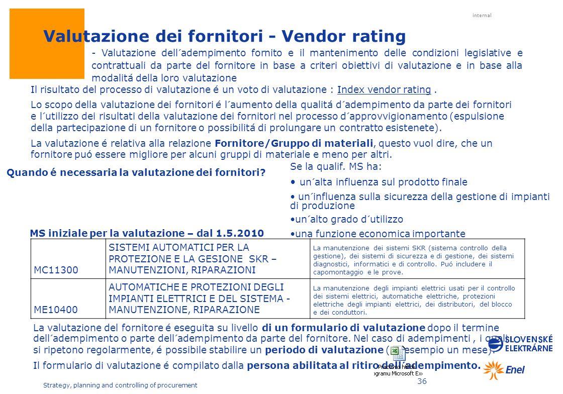 Valutazione dei fornitori - Vendor rating