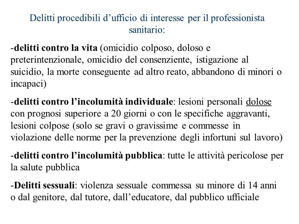 Delitti procedibili d'ufficio di interesse per il professionista sanitario: