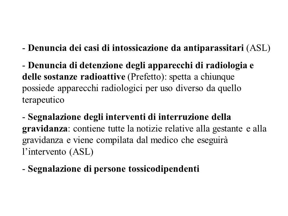 Denuncia dei casi di intossicazione da antiparassitari (ASL)