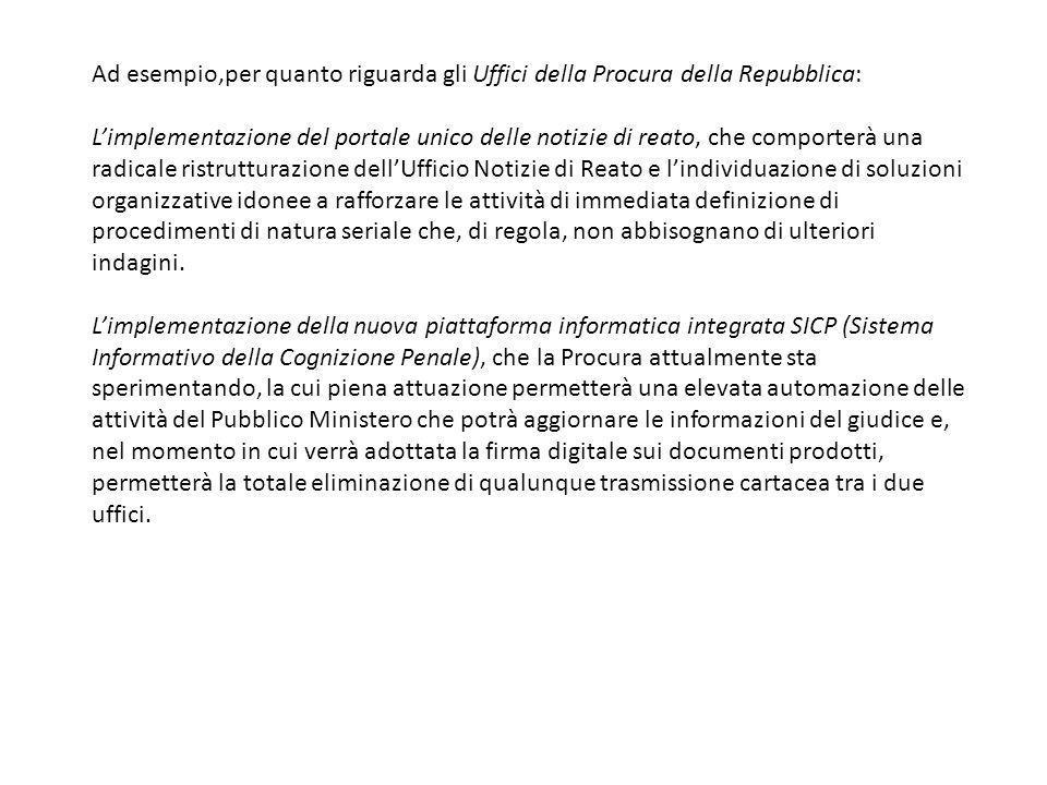 Ad esempio,per quanto riguarda gli Uffici della Procura della Repubblica:
