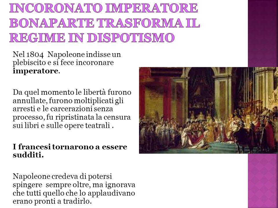 Incoronato imperatore bonaparte trasforma il regime in dispotismo