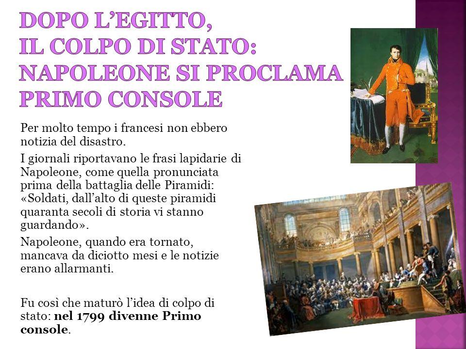 Dopo l'egitto, il colpo di stato: napoleone si proclama primo console