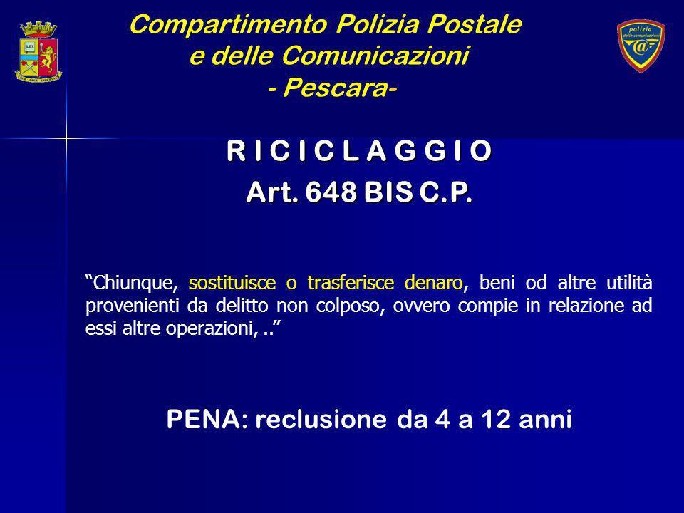 R I C I C L A G G I O Art. 648 BIS C.P. Compartimento Polizia Postale