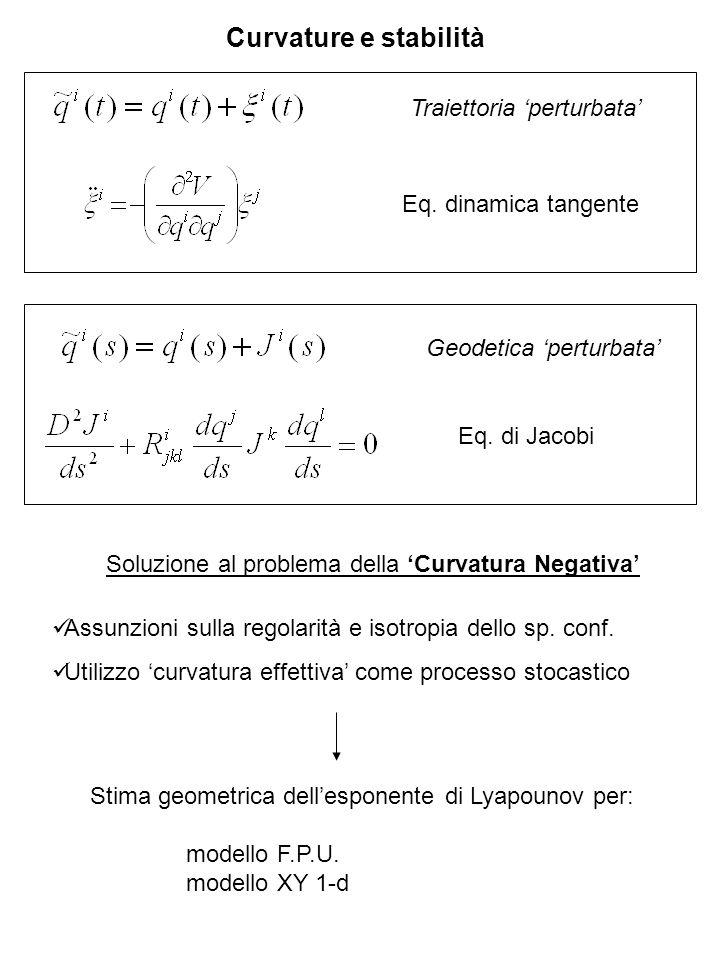Curvature e stabilità Traiettoria 'perturbata' Eq. dinamica tangente