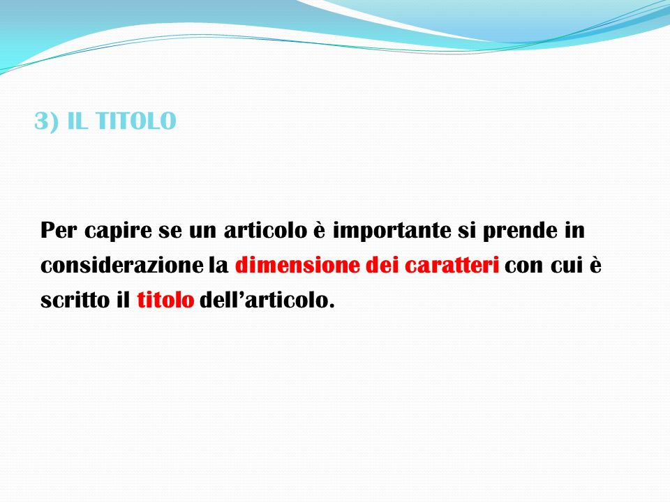 3) IL TITOLO