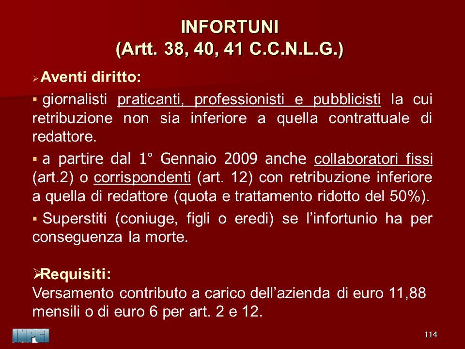 INFORTUNI (Artt. 38, 40, 41 C.C.N.L.G.)