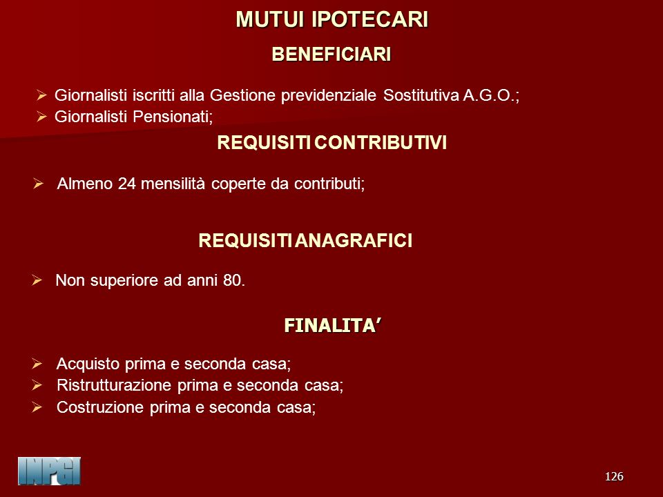 MUTUI IPOTECARI BENEFICIARI
