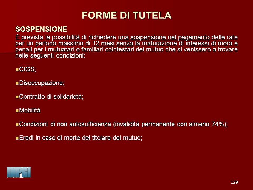 FORME DI TUTELA SOSPENSIONE