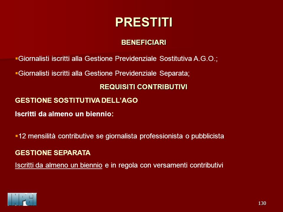REQUISITI CONTRIBUTIVI