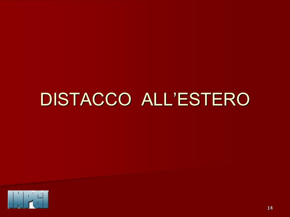 DISTACCO ALL'ESTERO INPGI