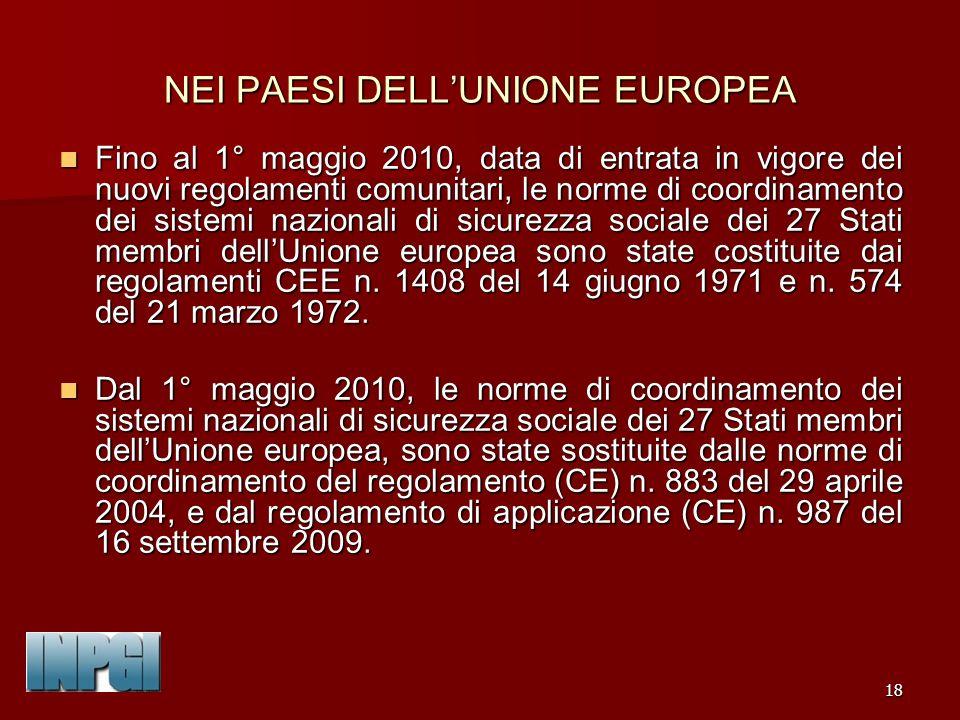 NEI PAESI DELL'UNIONE EUROPEA