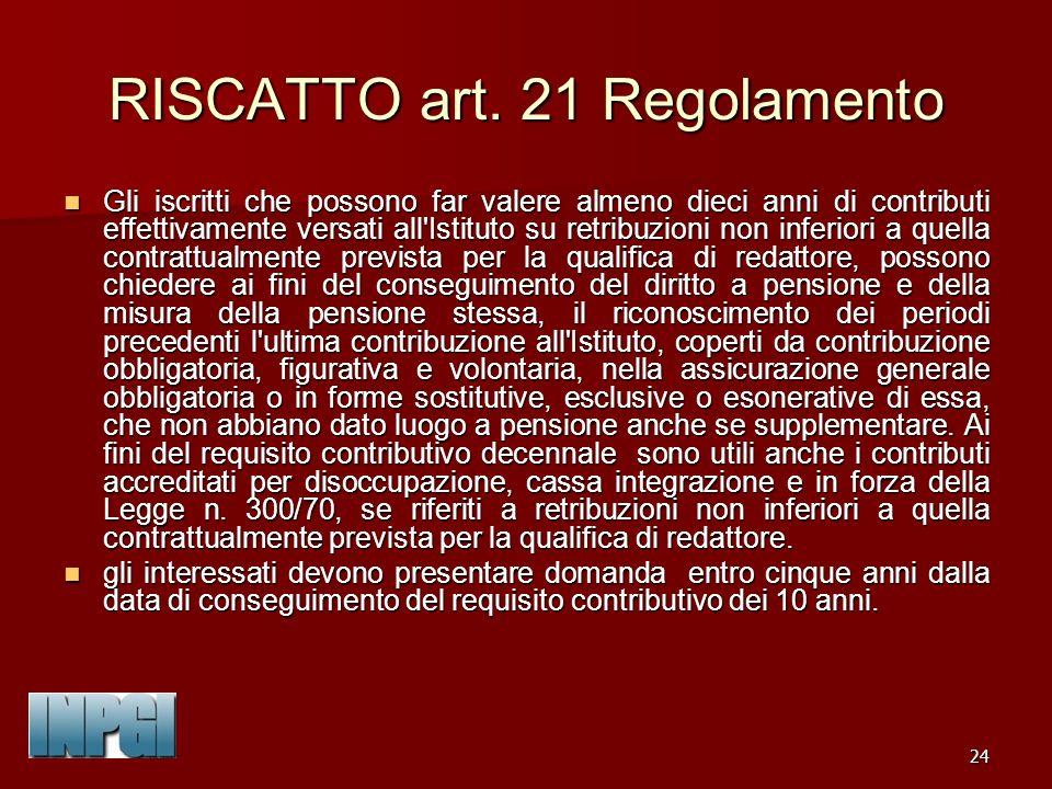 RISCATTO art. 21 Regolamento