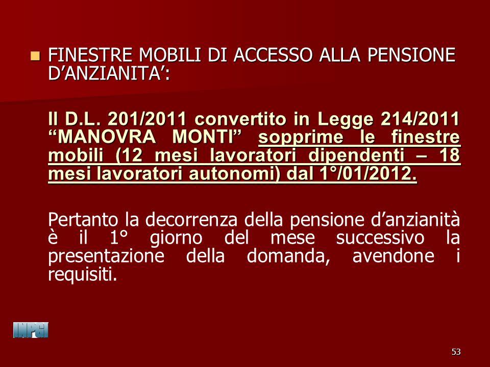 FINESTRE MOBILI DI ACCESSO ALLA PENSIONE D'ANZIANITA':