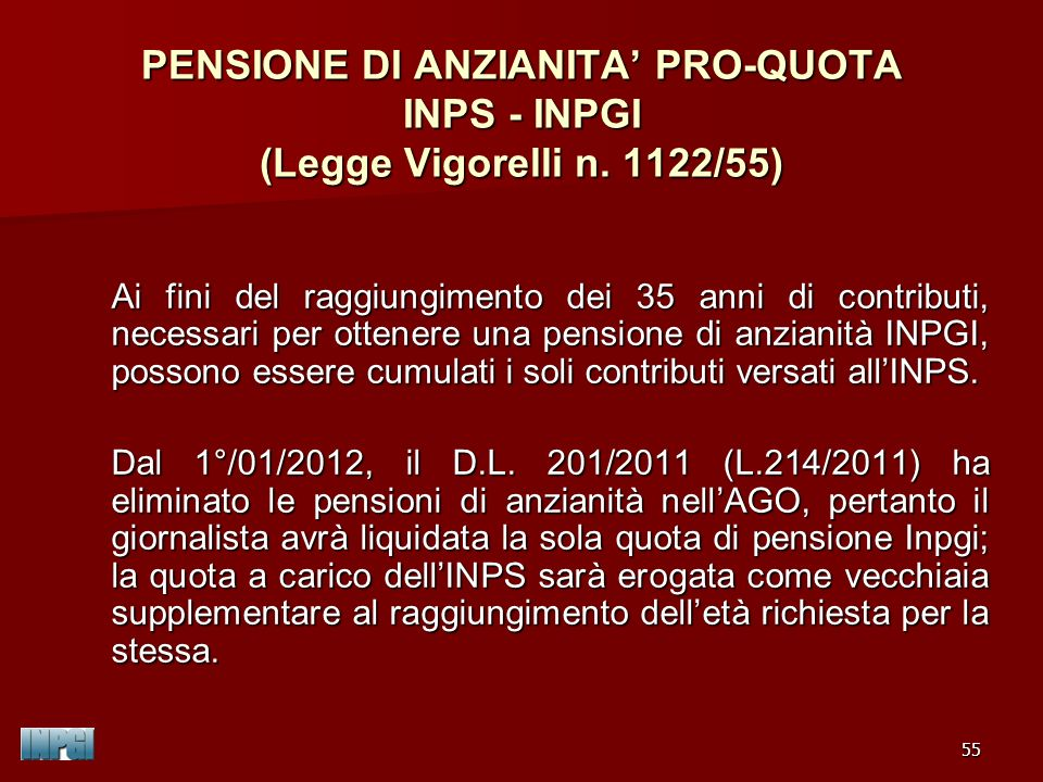 PENSIONE DI ANZIANITA' PRO-QUOTA INPS - INPGI (Legge Vigorelli n