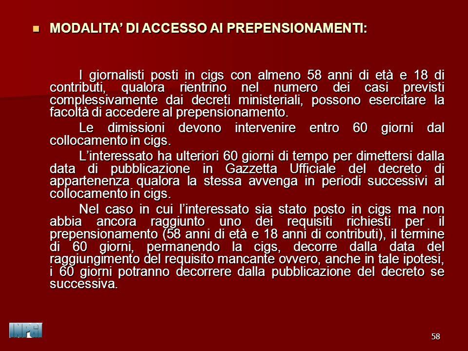 MODALITA' DI ACCESSO AI PREPENSIONAMENTI:
