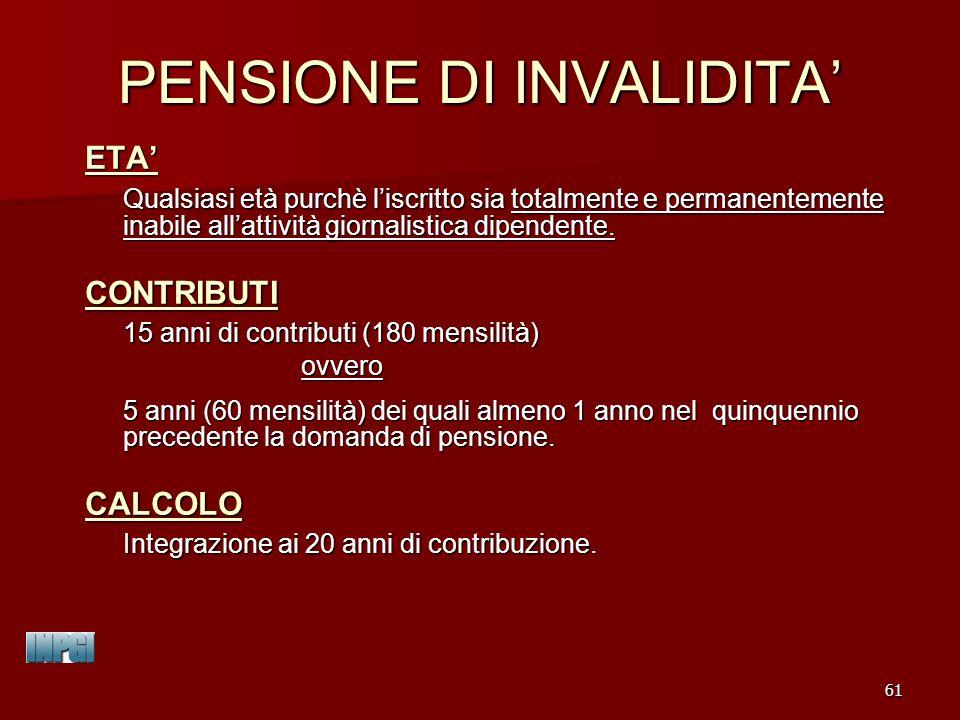 PENSIONE DI INVALIDITA'