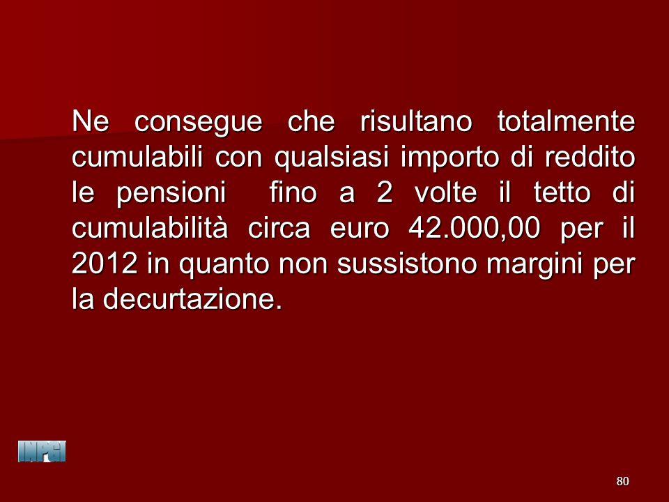 Ne consegue che risultano totalmente cumulabili con qualsiasi importo di reddito le pensioni fino a 2 volte il tetto di cumulabilità circa euro 42.000,00 per il 2012 in quanto non sussistono margini per la decurtazione.