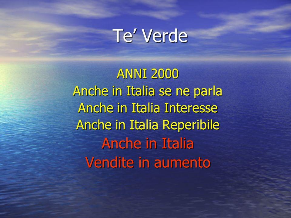 Te' Verde Anche in Italia Vendite in aumento ANNI 2000