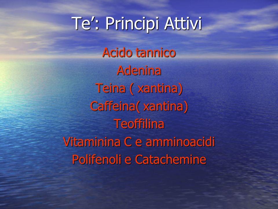 Te': Principi Attivi Acido tannico Adenina Teina ( xantina)