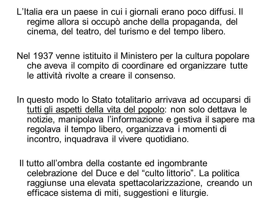 L'Italia era un paese in cui i giornali erano poco diffusi