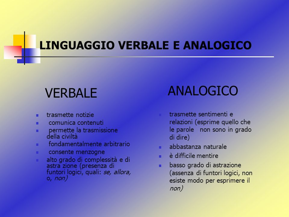 LINGUAGGIO VERBALE E ANALOGICO